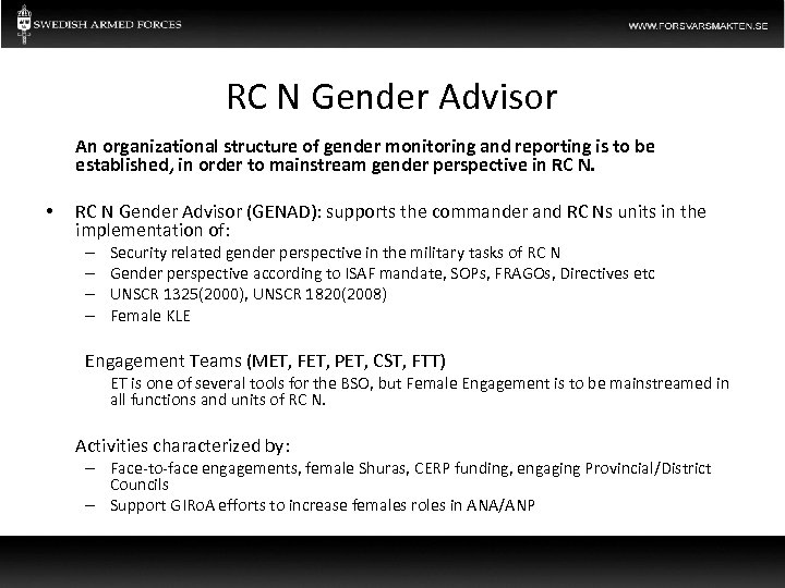 RC N Gender Advisor An organizational structure of gender monitoring and reporting is to