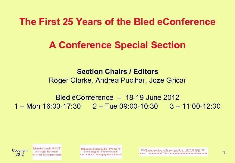 The First 25 Years of the Bled e. Conference A Conference Special Section Chairs