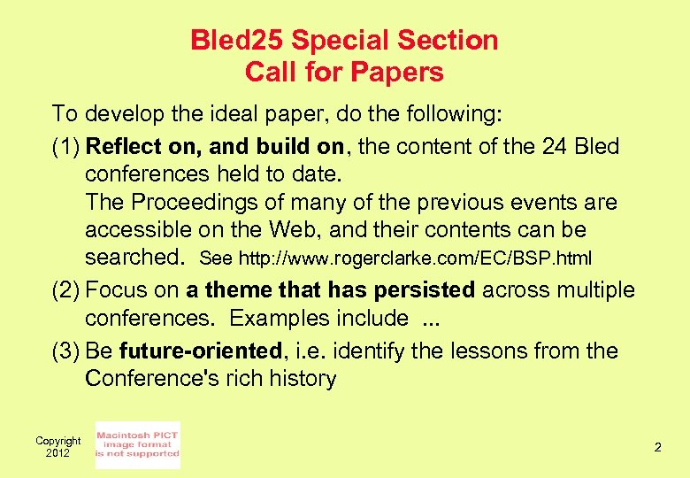 Bled 25 Special Section Call for Papers To develop the ideal paper, do the