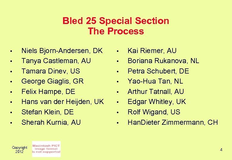 Bled 25 Special Section The Process • • Niels Bjorn-Andersen, DK Tanya Castleman, AU