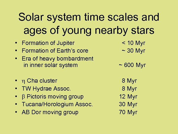 Solar system time scales and ages of young nearby stars • Formation of Jupiter