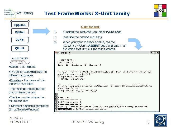 SW-Testing Test Frame. Works: X-Unit family Cpp. Unit Py. Unit JUnit Qt. Unit A