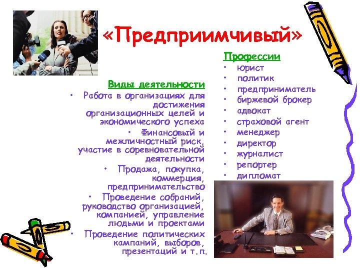 «Предприимчивый» Профессии • Виды деятельности Работа в организациях для достижения организационных целей и