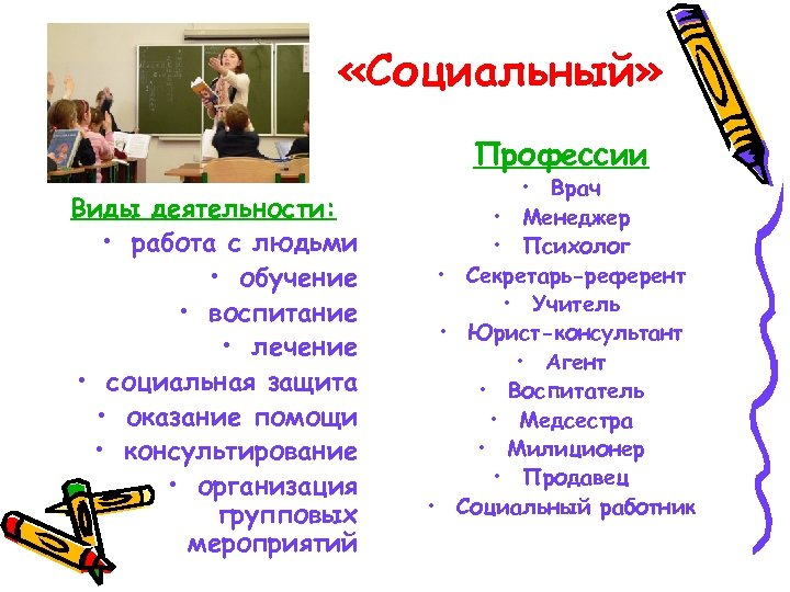 «Социальный» Профессии Виды деятельности: • работа с людьми • обучение • воспитание •