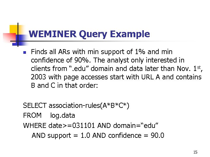 WEMINER Query Example n Finds all ARs with min support of 1% and min