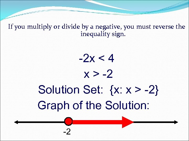If you multiply or divide by a negative, you must reverse the inequality sign.