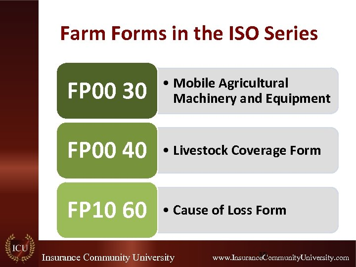 Farm Forms in the ISO Series FP 00 30 • Mobile Agricultural Machinery and