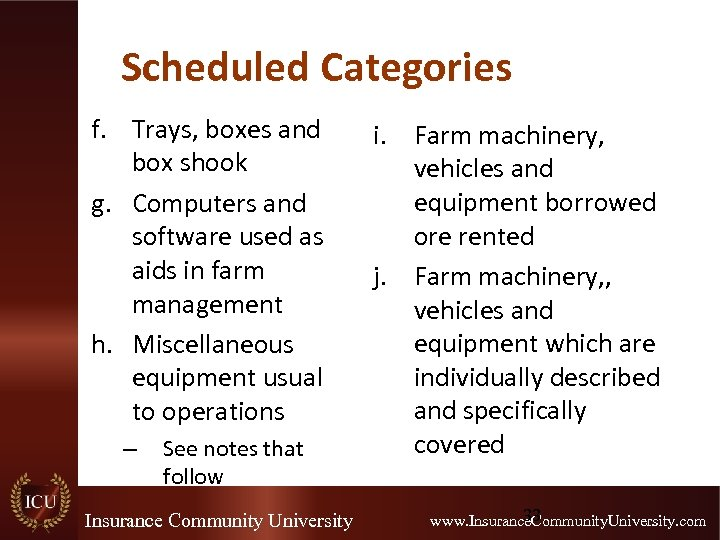 Scheduled Categories f. Trays, boxes and box shook g. Computers and software used as