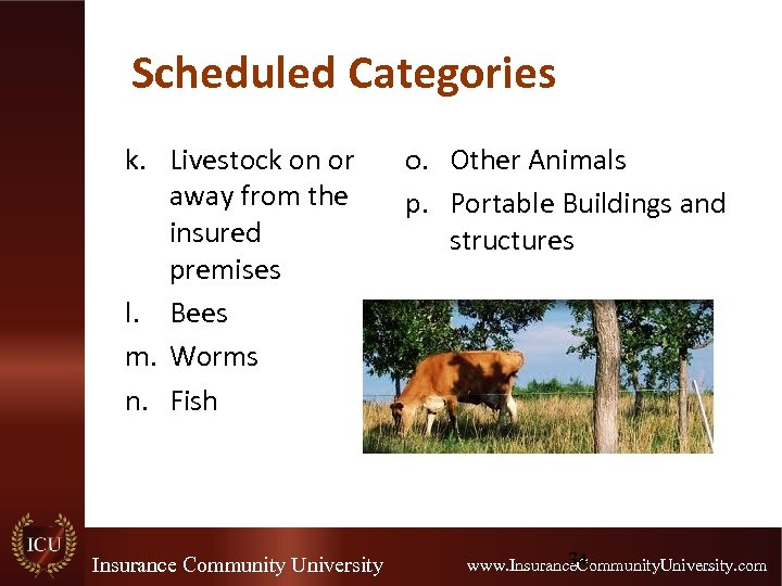 Scheduled Categories k. Livestock on or away from the insured premises l. Bees m.