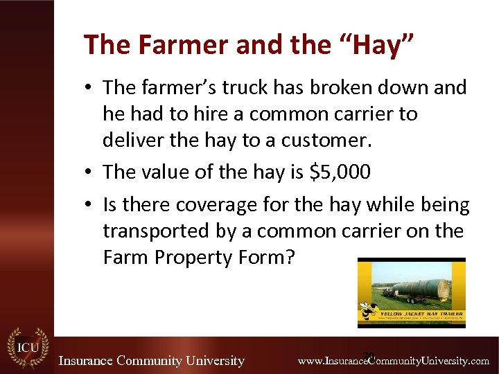 """The Farmer and the """"Hay"""" • The farmer's truck has broken down and he"""