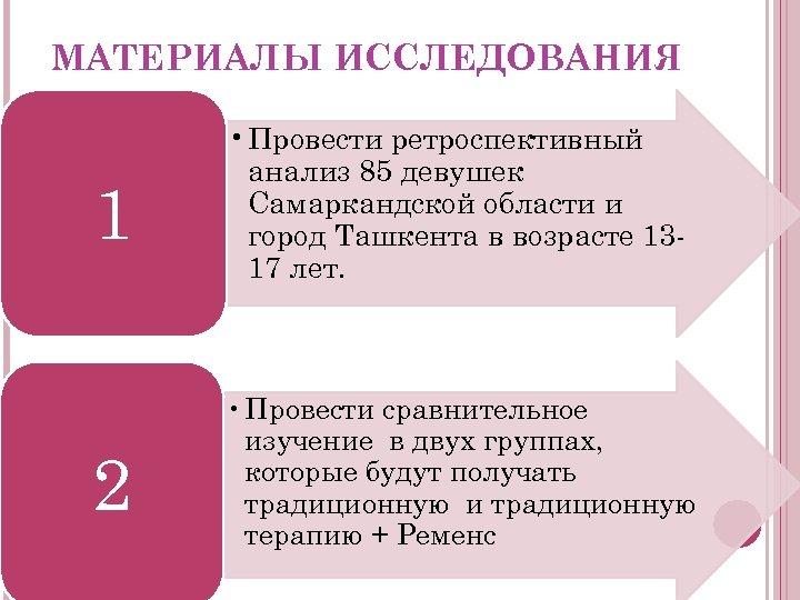 МАТЕРИАЛЫ ИССЛЕДОВАНИЯ 1 • Провести ретроспективный анализ 85 девушек Самаркандской области и город Ташкента