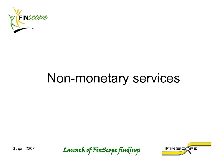Non-monetary services 3 April 2007 Launch of Fin. Scope findings