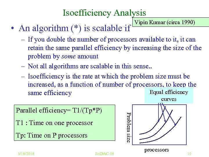 Isoefficiency Analysis • An algorithm (*) is scalable if Vipin Kumar (circa 1990) –