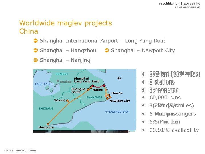 raschbichler | consulting DR. MICHAEL RASCHBICHLER Worldwide maglev projects China Shanghai International Airport –