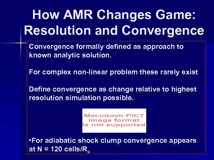 How AMR Changes Game: Resolution and Convergence formally defined as approach to known analytic
