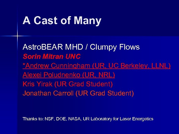 A Cast of Many Astro. BEAR MHD / Clumpy Flows Sorin Mitran UNC *Andrew
