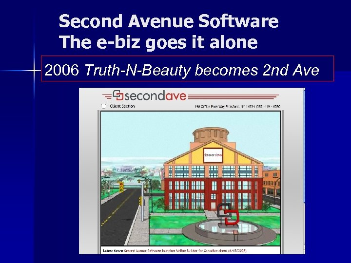 Second Avenue Software The e-biz goes it alone 2006 Truth-N-Beauty becomes 2 nd Ave