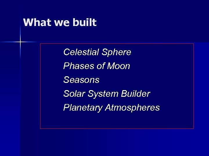 What we built Celestial Sphere Phases of Moon Seasons Solar System Builder Planetary Atmospheres