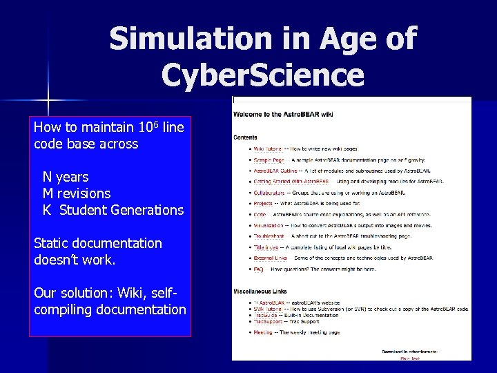 Simulation in Age of Cyber. Science How to maintain 106 line code base across