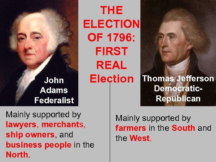 John Adams Federalist THE ELECTION OF 1796: FIRST REAL Election Thomas Jefferson Mainly supported