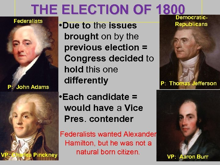 THE ELECTION OF 1800 Democratic- Federalists P: John Adams • Due to the issues