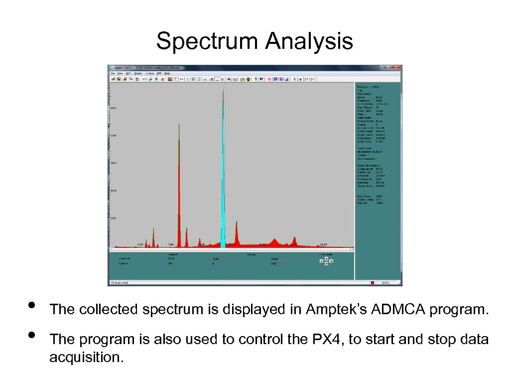 Spectrum Analysis • • The collected spectrum is displayed in Amptek's ADMCA program. The