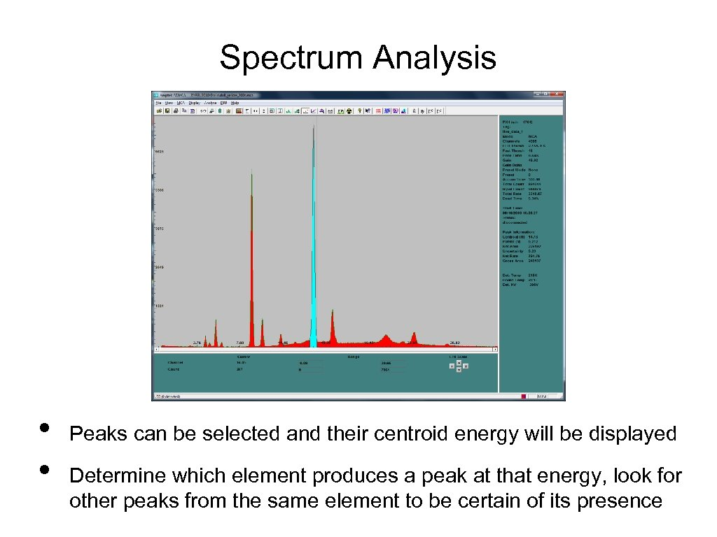 Spectrum Analysis • • Peaks can be selected and their centroid energy will be