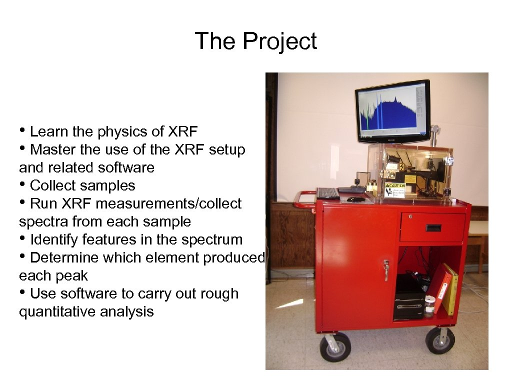 The Project • Learn the physics of XRF • Master the use of the