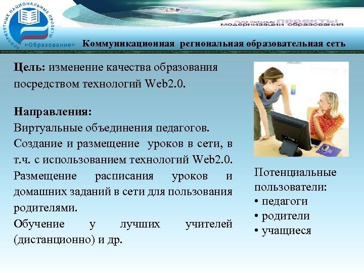 Коммуникационная региональная образовательная сеть Цель: изменение качества образования посредством технологий Web 2. 0. Направления: