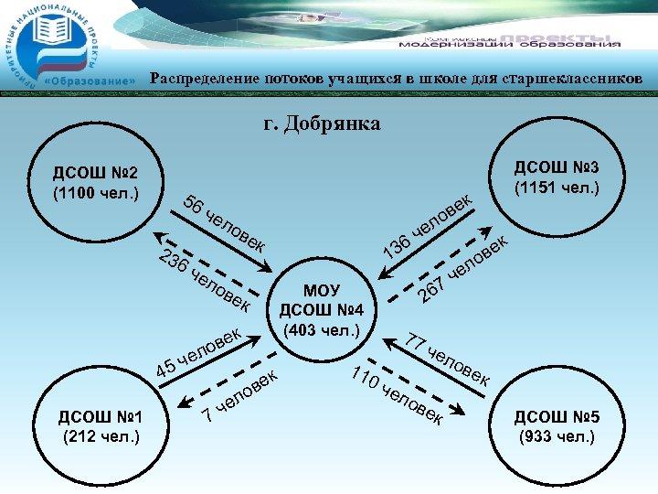 Распределение потоков учащихся в школе для старшеклассников г. Добрянка ДСОШ № 2 (1100 чел.