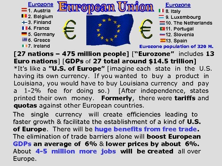 Eurozone 1. Austria 2. Belgium 3. Finland 4. France 5. Germany 6. Greece 7.