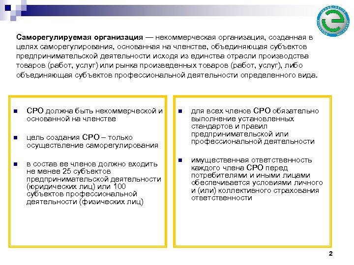 Саморегулируемая организация — некоммерческая организация, созданная в целях саморегулирования, основанная на членстве, объединяющая субъектов
