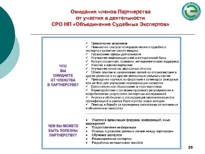 Ожидания членов Партнерства от участия в деятельности СРО НП «Объединение Судебных Экспертов» 20