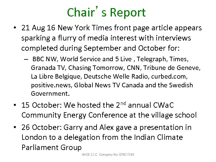 Chair's Report • 21 Aug 16 New York Times front page article appears sparking