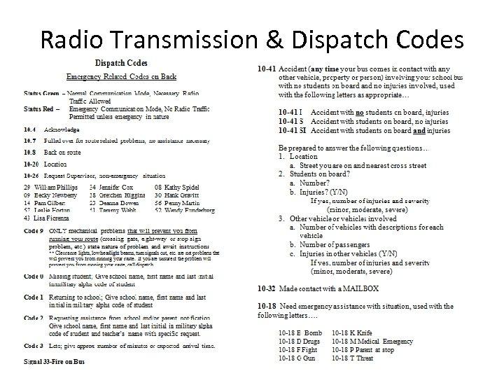 Radio Transmission & Dispatch Codes