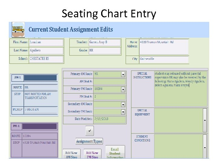 Seating Chart Entry