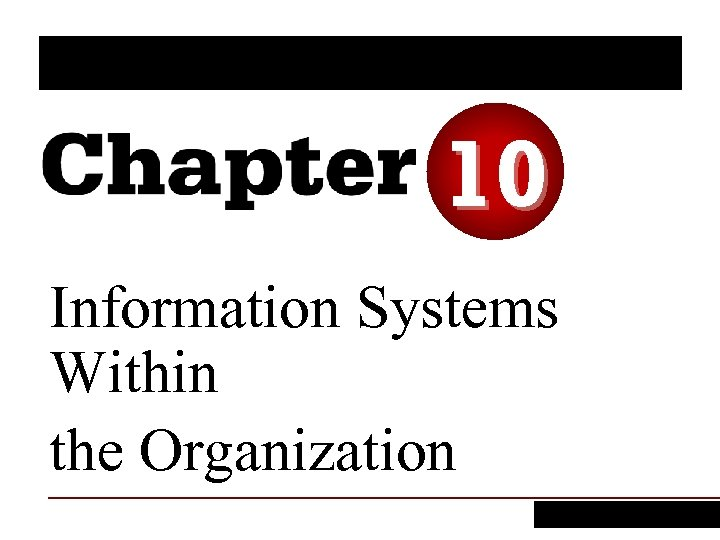 10 Information Systems Within the Organization