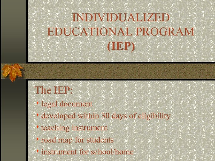 INDIVIDUALIZED EDUCATIONAL PROGRAM (IEP) The IEP: 8 legal document 8 developed within 30 days