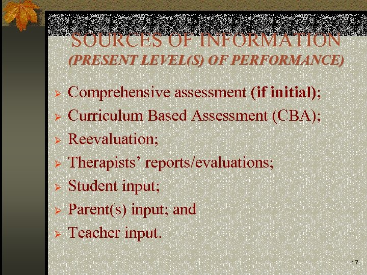 SOURCES OF INFORMATION (PRESENT LEVEL(S) OF PERFORMANCE) Ø Ø Ø Ø Comprehensive assessment (if