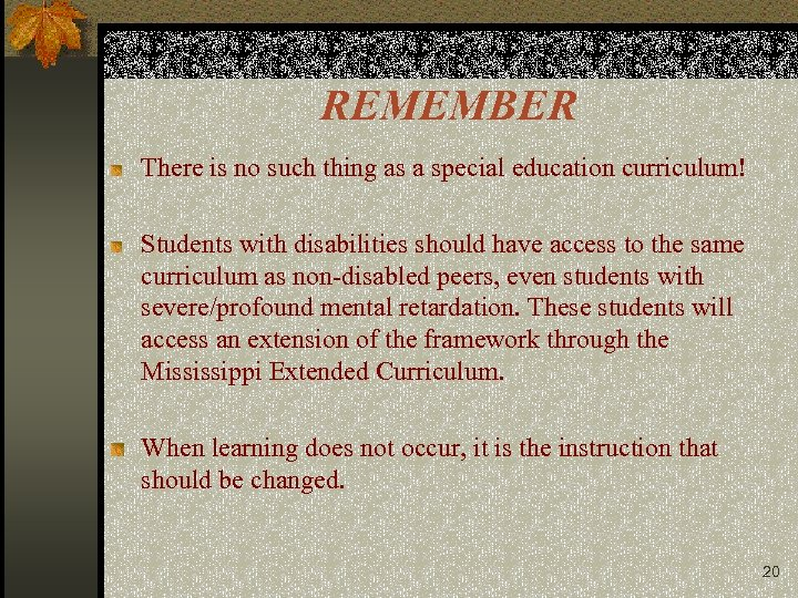 REMEMBER There is no such thing as a special education curriculum! Students with disabilities