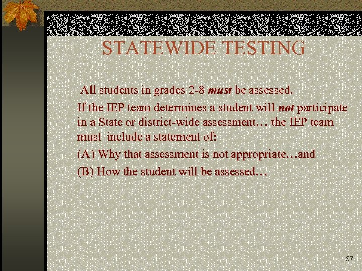 STATEWIDE TESTING All students in grades 2 -8 must be assessed. If the IEP