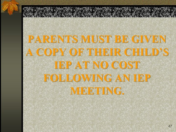 PARENTS MUST BE GIVEN A COPY OF THEIR CHILD'S IEP AT NO COST FOLLOWING