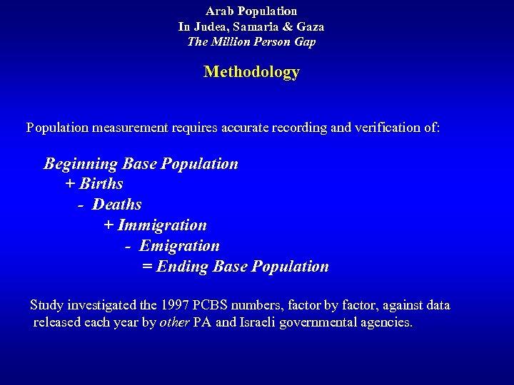 Arab Population In Judea, Samaria & Gaza The Million Person Gap Methodology Population measurement