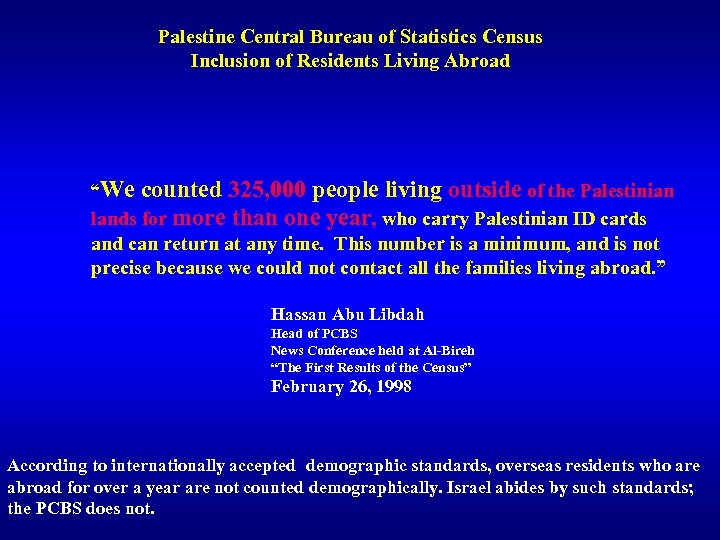 """Palestine Central Bureau of Statistics Census Inclusion of Residents Living Abroad """"We counted 325,"""