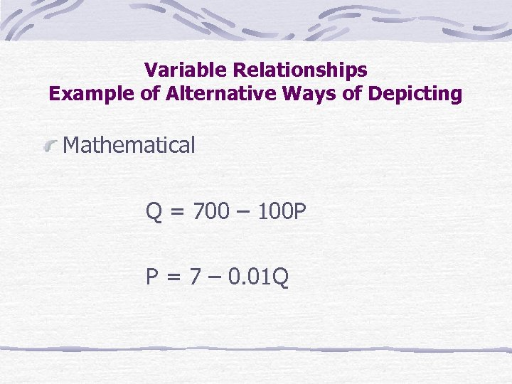 Variable Relationships Example of Alternative Ways of Depicting Mathematical Q = 700 – 100