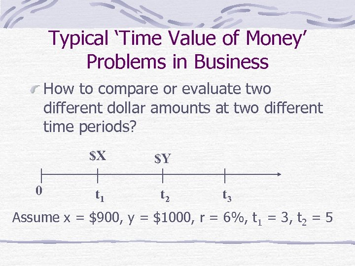 Typical 'Time Value of Money' Problems in Business How to compare or evaluate two