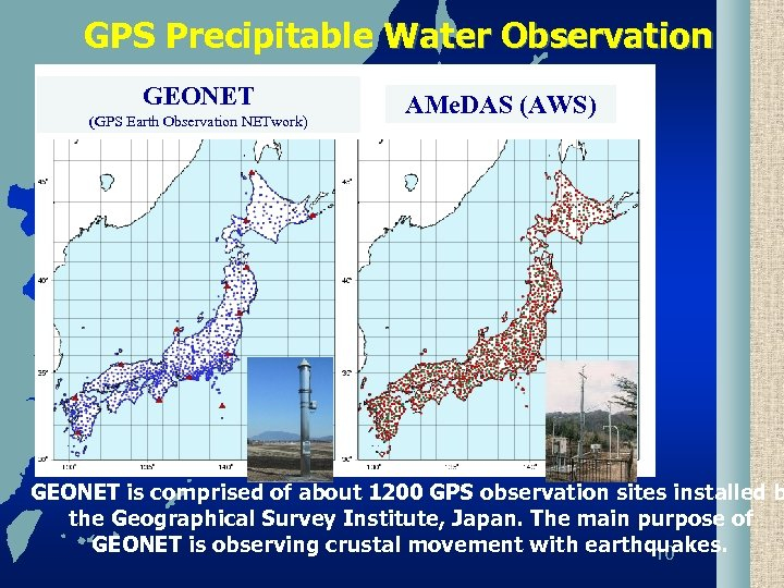 GPS Precipitable Water Observation GEONET (GPS Earth Observation NETwork) AMe. DAS (AWS) GEONET is
