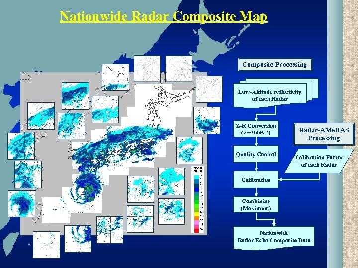 Nationwide Radar Composite Map Composite Processing Low-Altitude reflectivity of each Radar Z-R Conversion (Z=200