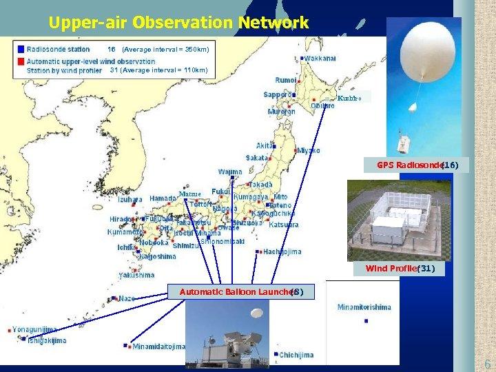 Upper-air Observation Network 16 (Average interval = 350 km) 31 (Average interval = 110