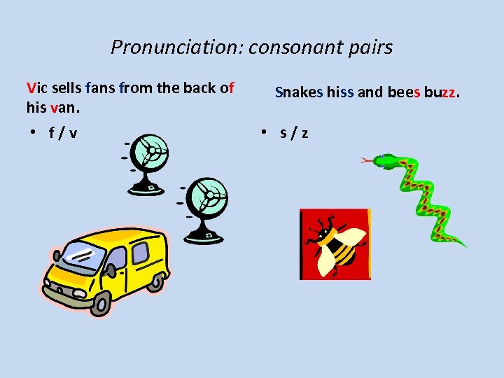 Pronunciation: consonant pairs Vic sells fans from the back of his van. • f/v